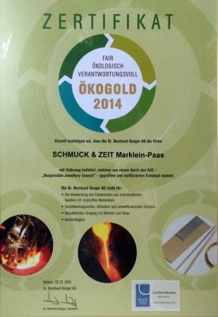 ÖkoGold Zertifikat 2014